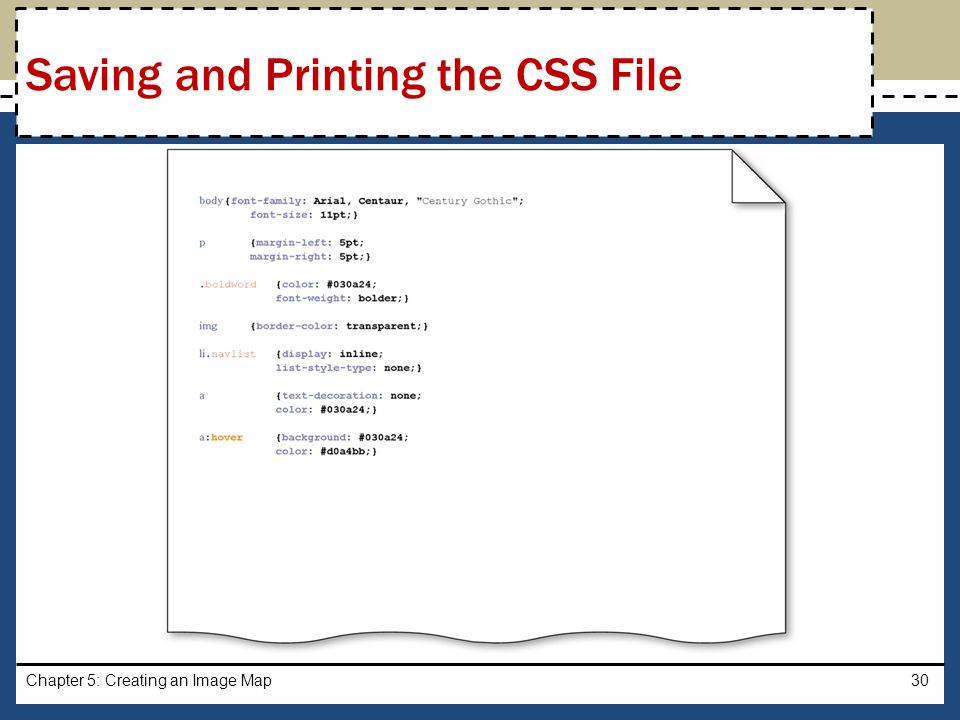 Saving and Printing the CSS File