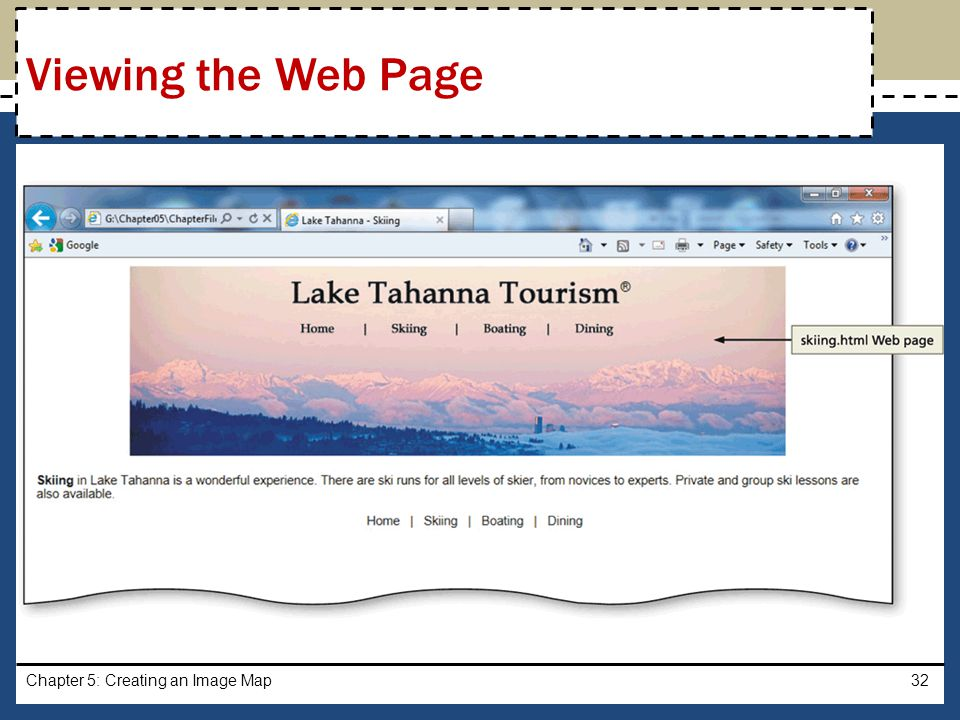 Viewing the Web Page Chapter 5: Creating an Image Map