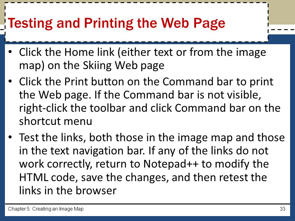 Testing and Printing the Web Page