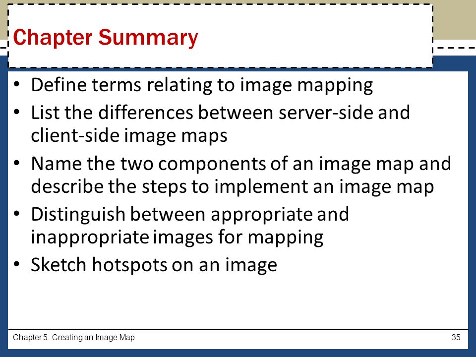 Chapter Summary Define terms relating to image mapping