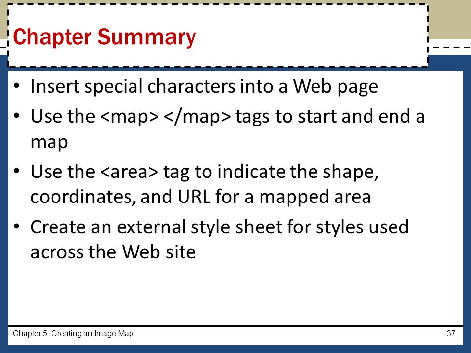 Chapter Summary Insert special characters into a Web page