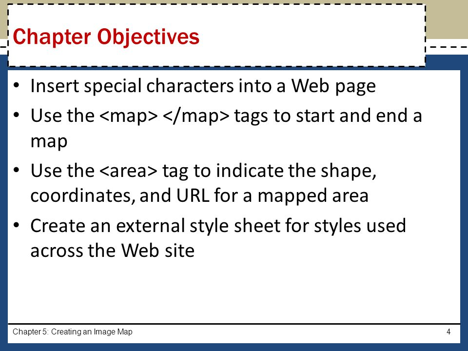 Chapter Objectives Insert special characters into a Web page