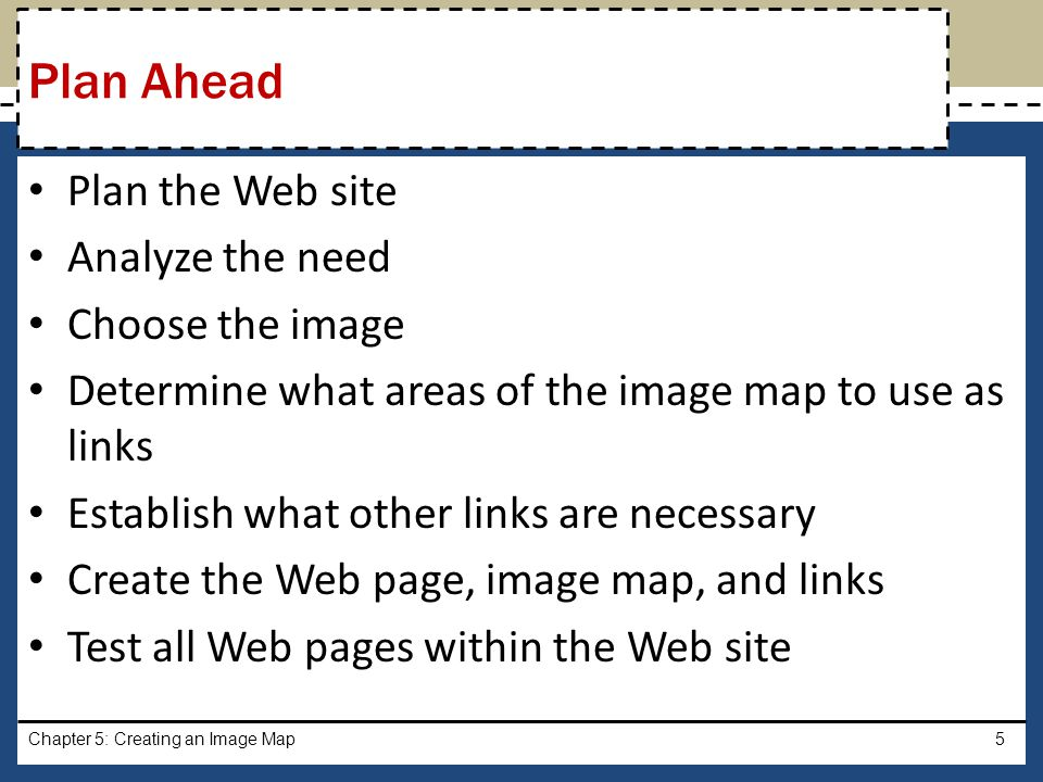 Plan Ahead Plan the Web site Analyze the need Choose the image
