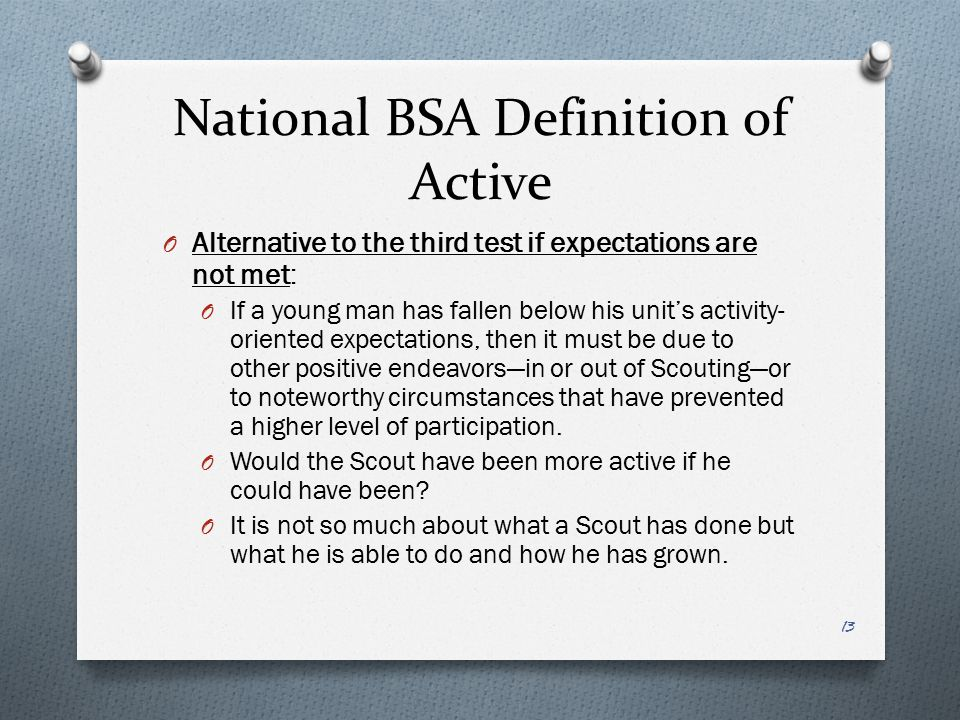 National BSA Definition of Active