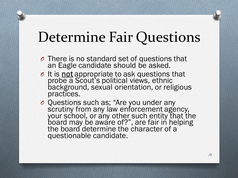Determine Fair Questions
