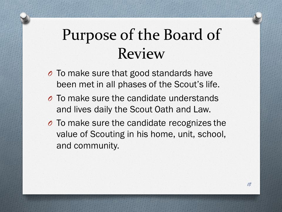 Purpose of the Board of Review