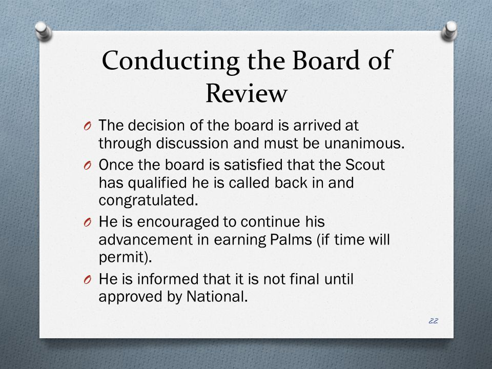 Conducting the Board of Review