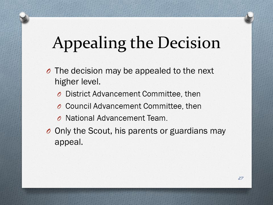 Appealing the Decision