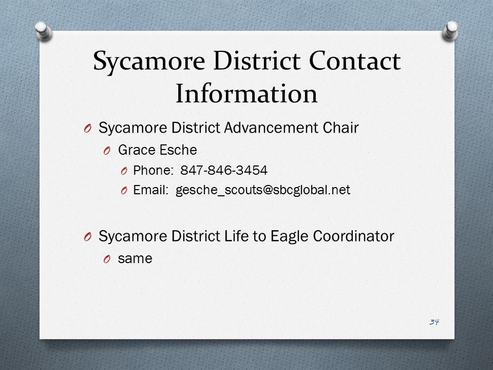 Sycamore District Contact Information Sycamore District Advancement Chair. Grace Esche. Phone: 847-846-3454.