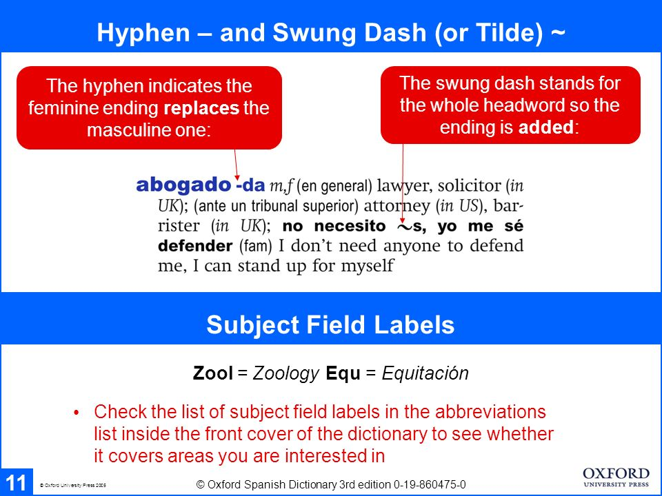Hyphen – and Swung Dash (or Tilde) ~