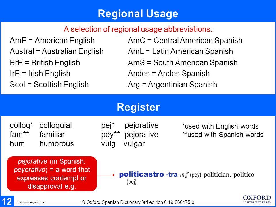 Regional Usage Register