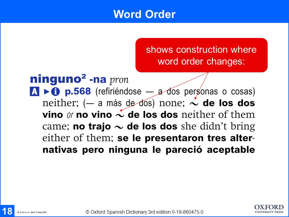 Word Order shows construction where word order changes: 18