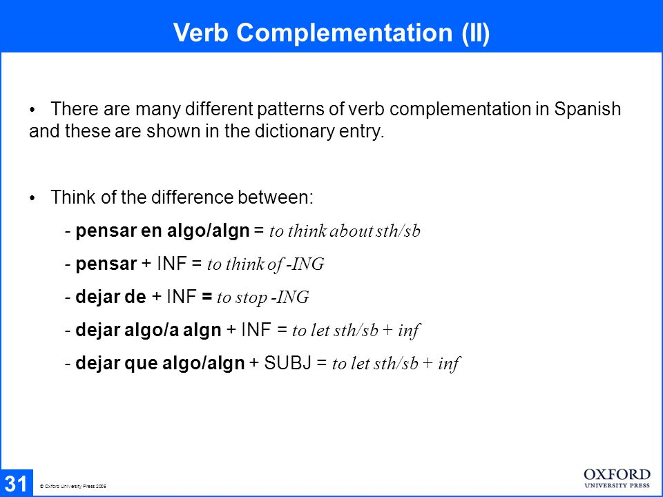 Verb Complementation (II)