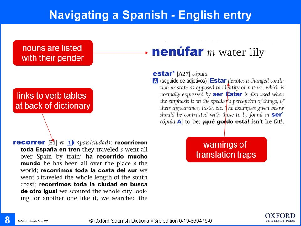 Navigating a Spanish - English entry