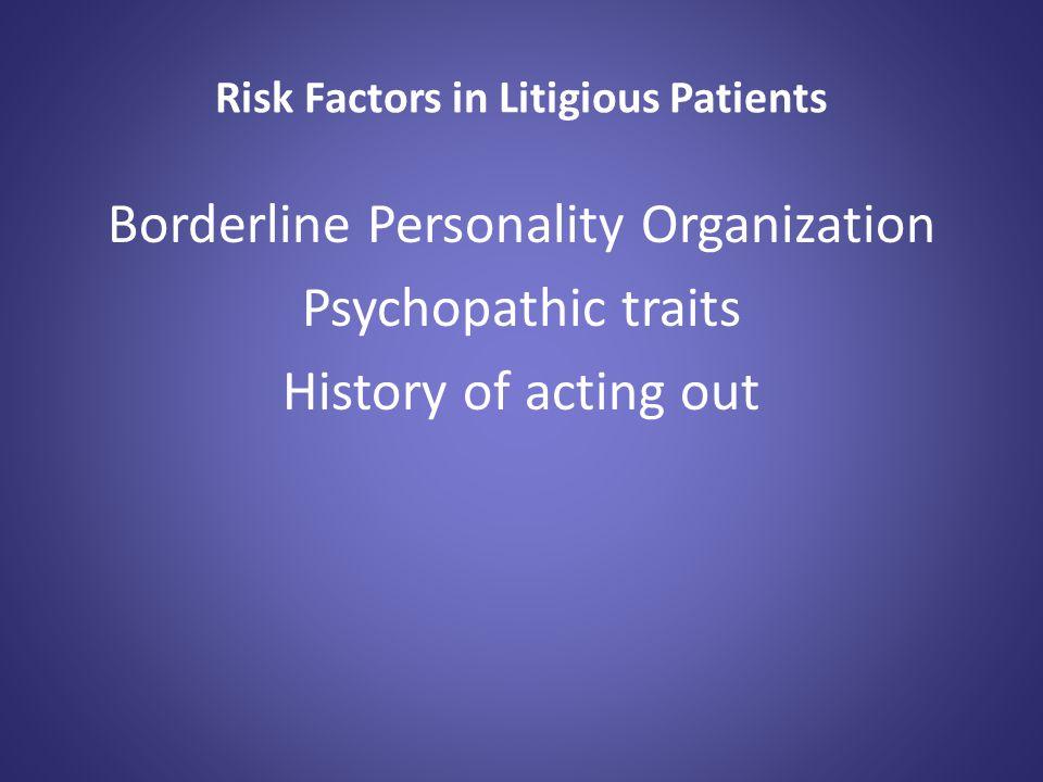 Risk Factors in Litigious Patients