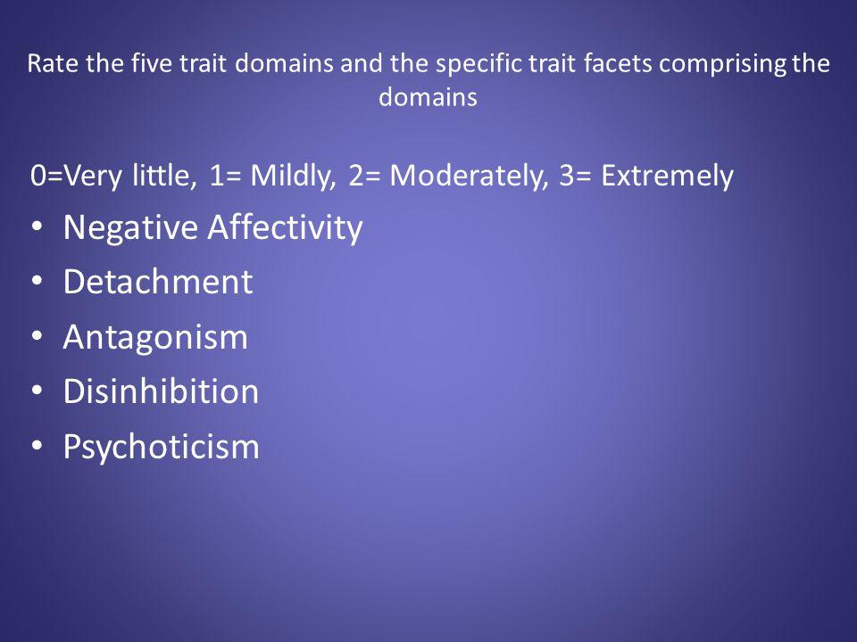 Negative Affectivity Detachment Antagonism Disinhibition Psychoticism