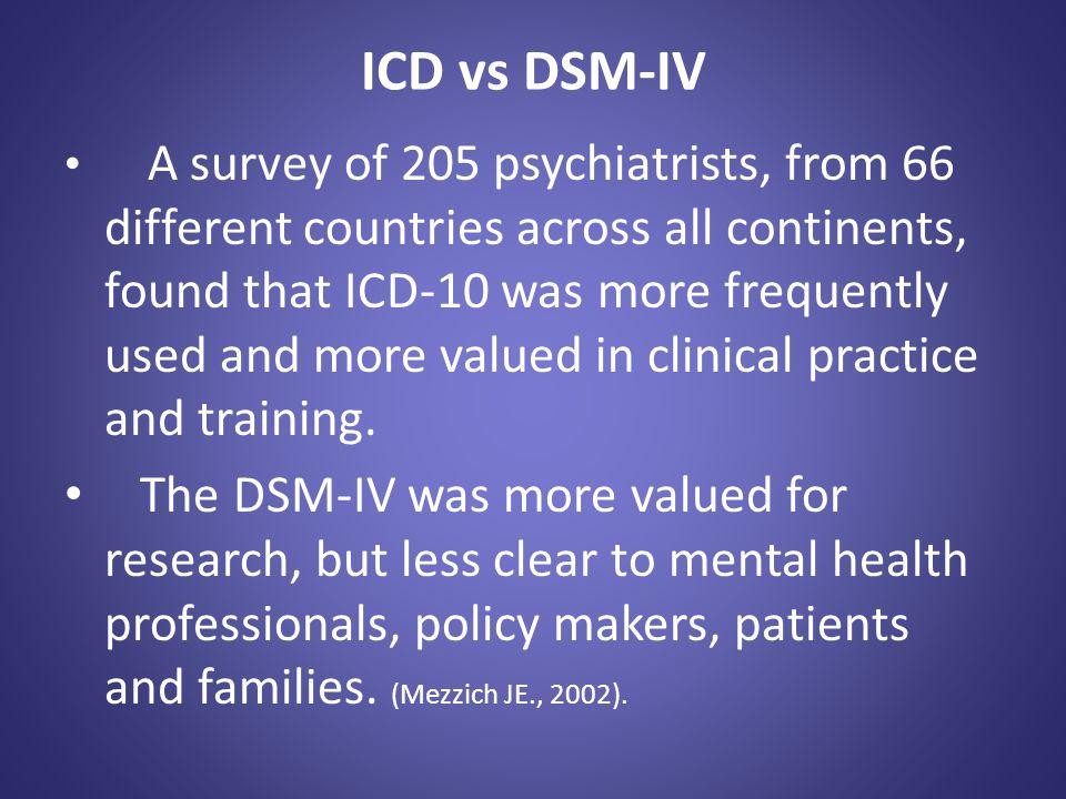 ICD vs DSM-IV