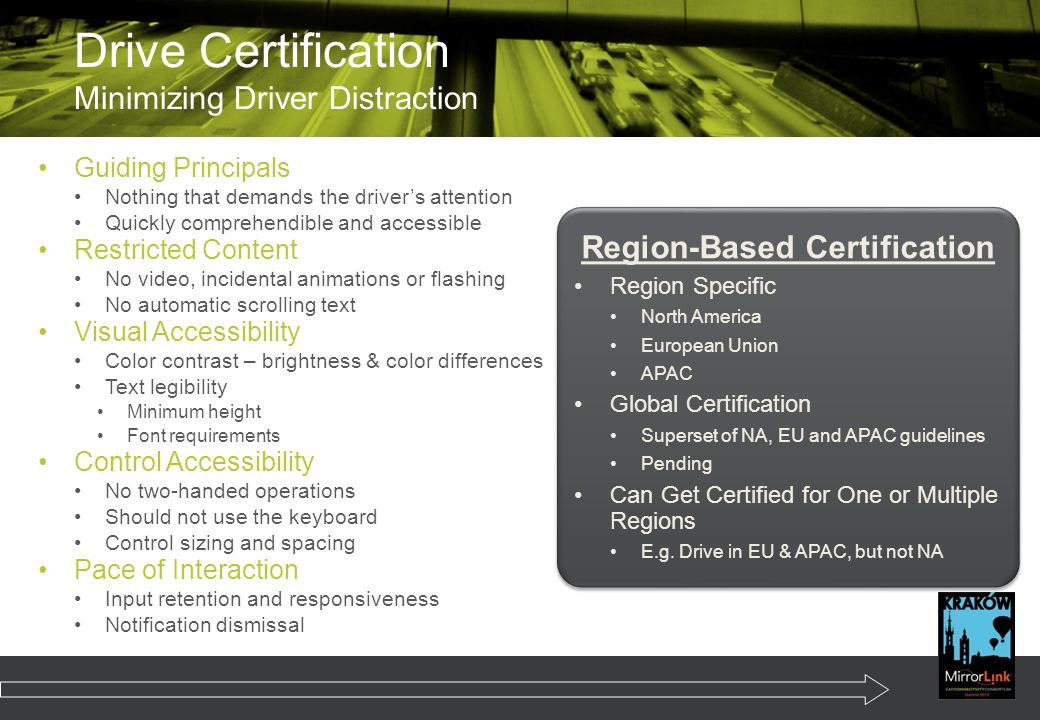 Drive Certification Minimizing Driver Distraction