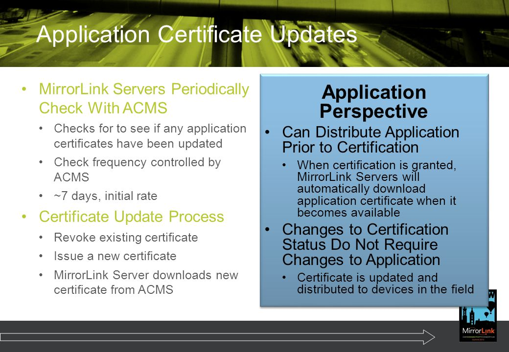 Application Certificate Updates