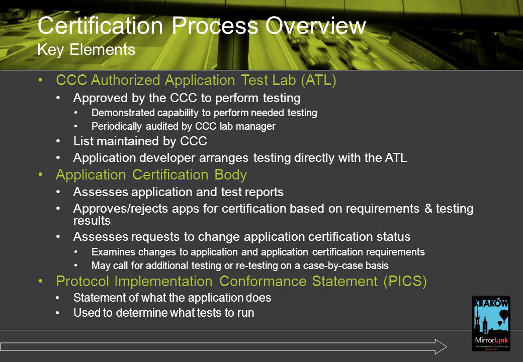 Certification Process Overview Key Elements