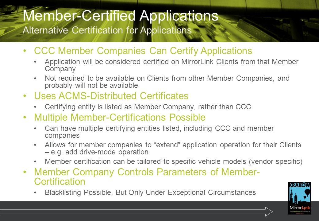 Member-Certified Applications Alternative Certification for Applications