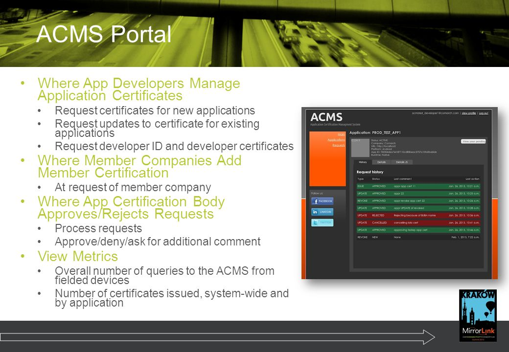 ACMS Portal Where App Developers Manage Application Certificates