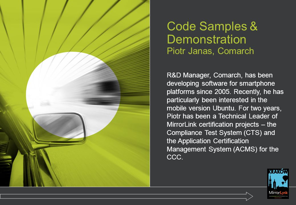 Code Samples & Demonstration Piotr Janas, Comarch
