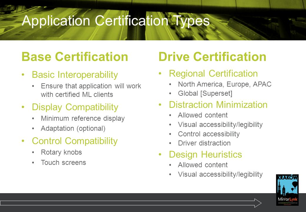 Application Certification Types