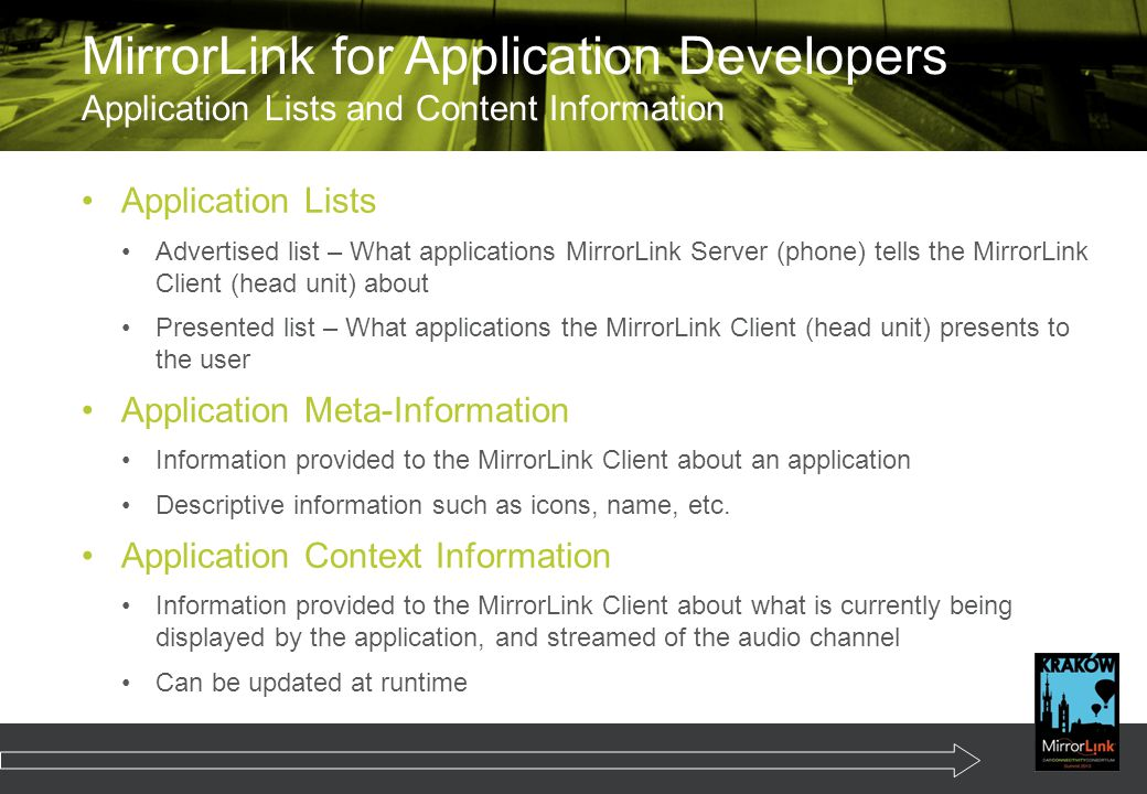 MirrorLink for Application Developers Application Lists and Content Information