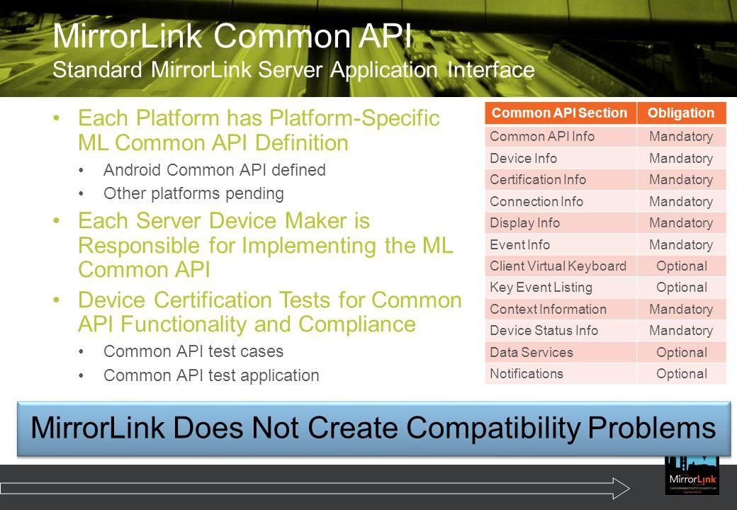 MirrorLink Common API Standard MirrorLink Server Application Interface
