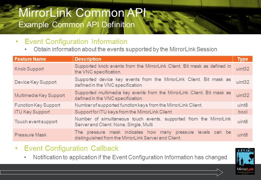 MirrorLink Common API Example Common API Definition