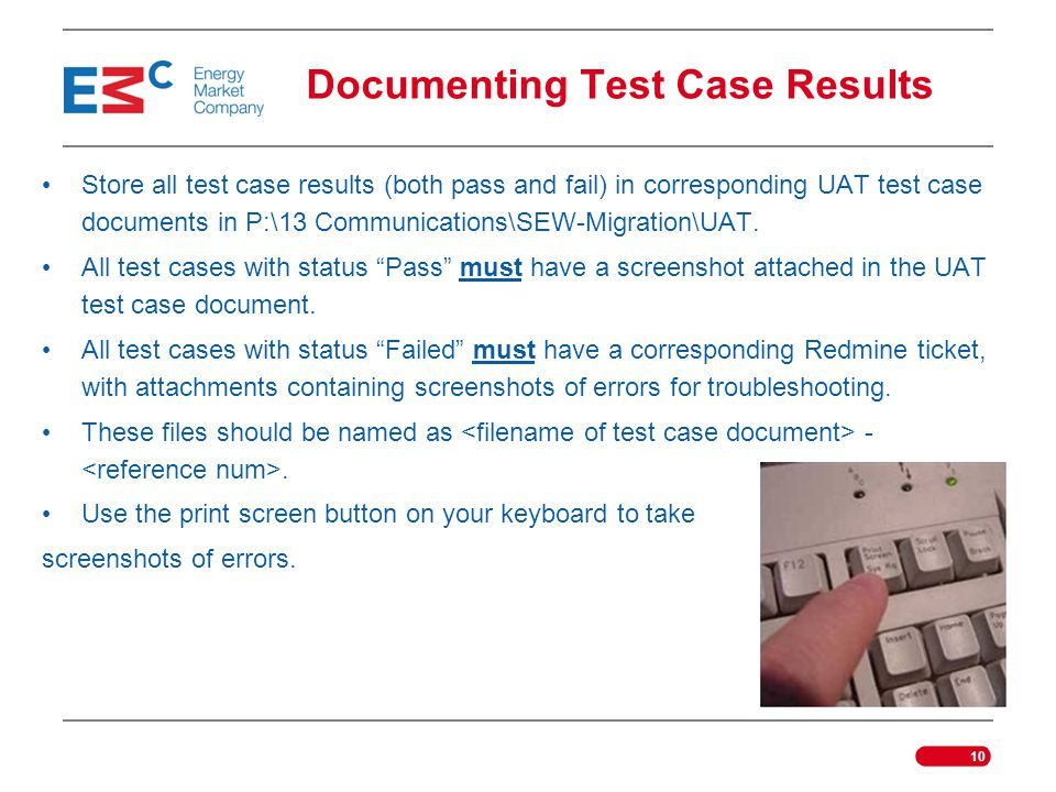 Documenting Test Case Results