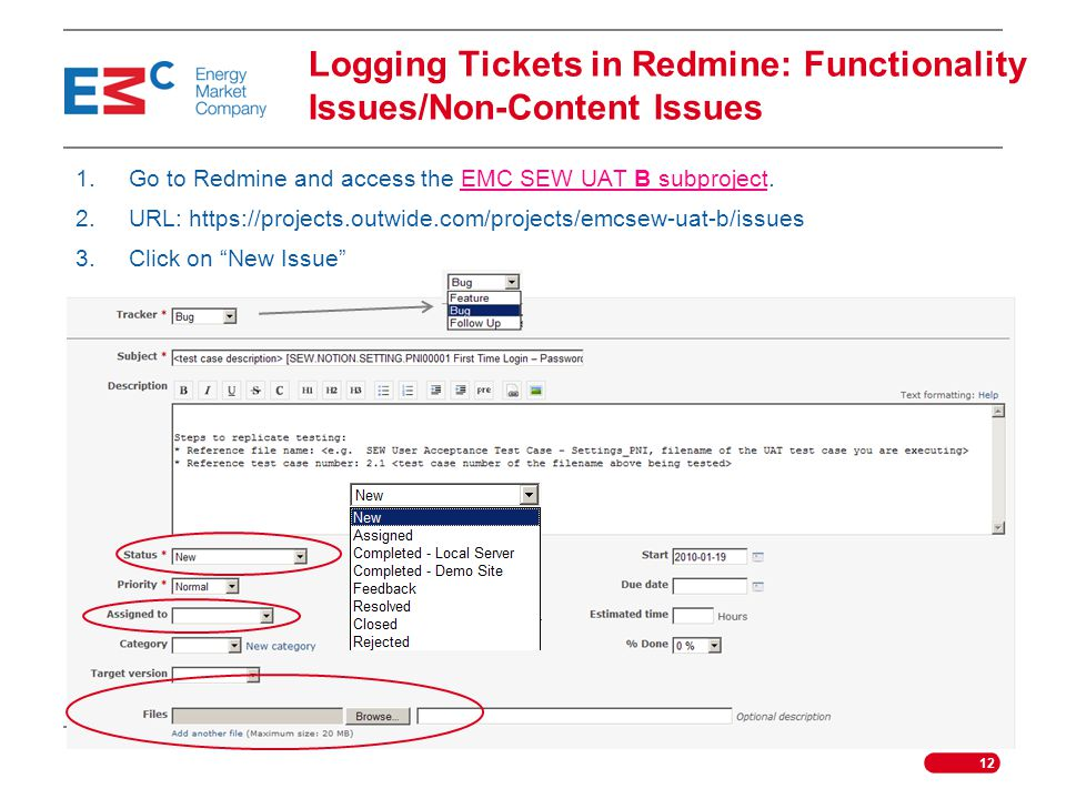 Logging Tickets in Redmine: Functionality Issues/Non-Content Issues