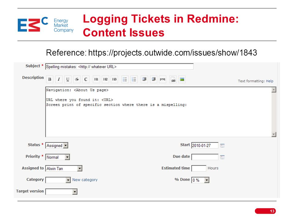 Logging Tickets in Redmine: Content Issues