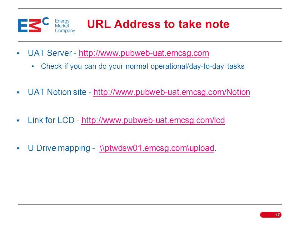 URL Address to take note