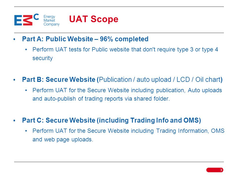 UAT Scope Part A: Public Website – 96% completed