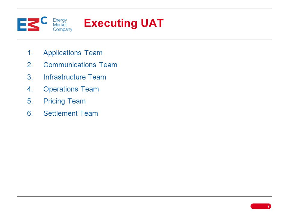 Executing UAT Applications Team Communications Team