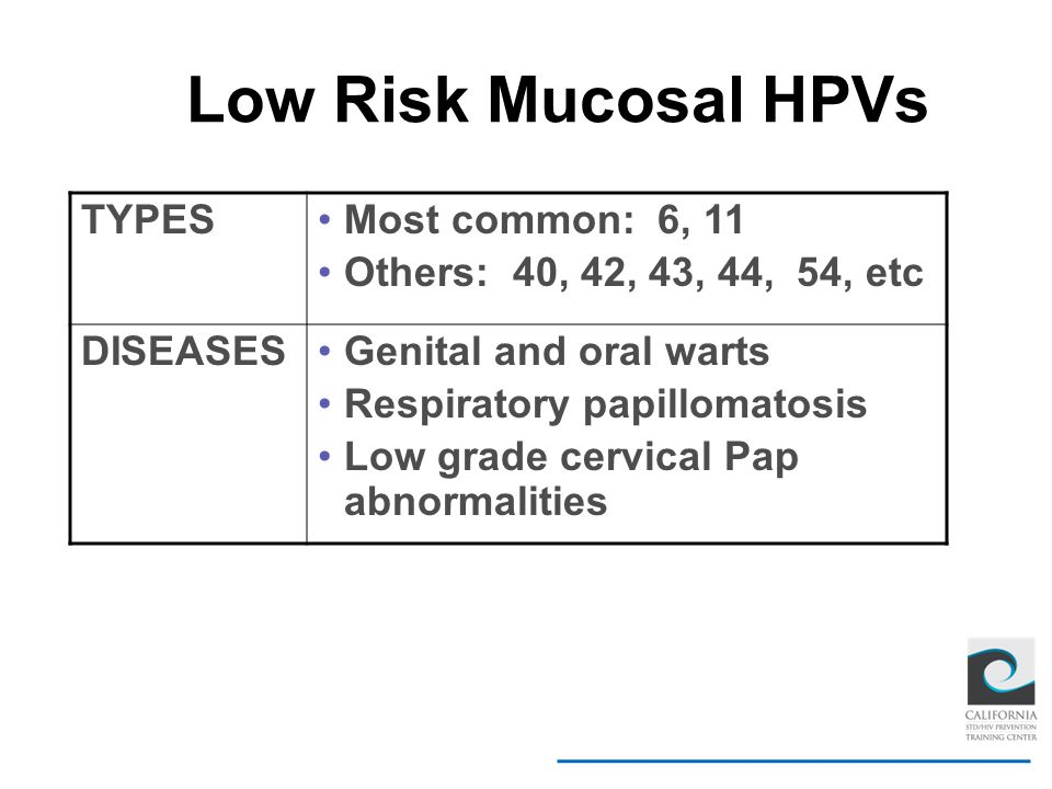 Low Risk Mucosal HPVs TYPES Most common: 6, 11