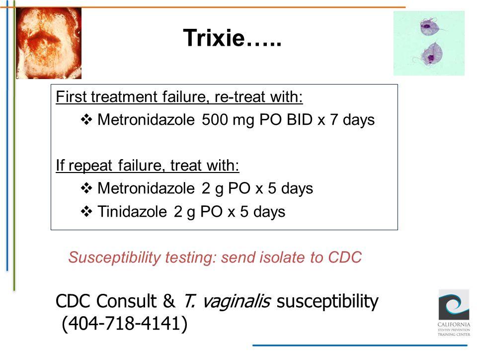 Trixie….. CDC Consult & T. vaginalis susceptibility (404-718-4141)