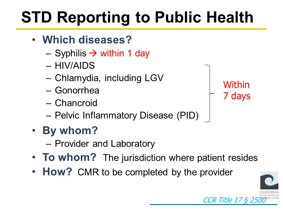 STD Reporting to Public Health