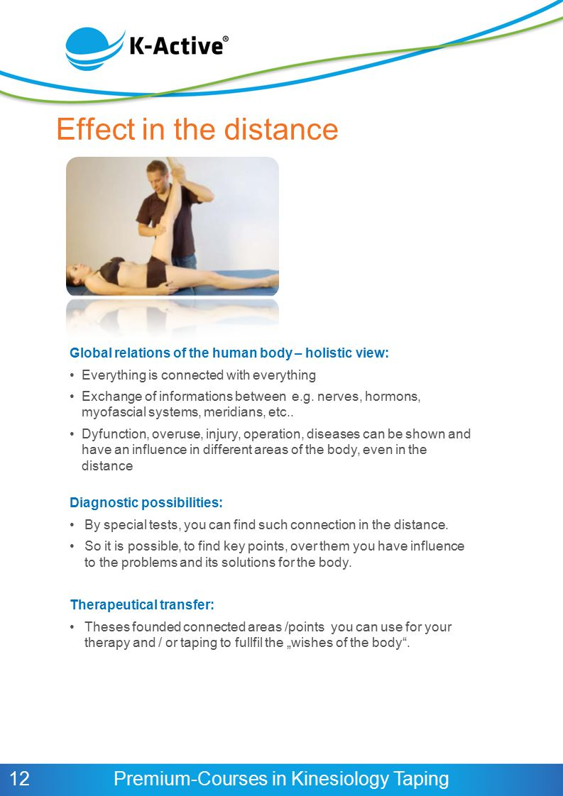 Effect in the distance Global relations of the human body – holistic view: Everything is connected with everything.