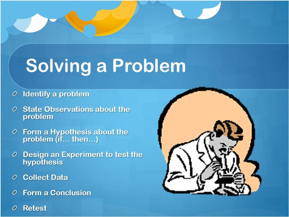Solving a Problem Identify a problem