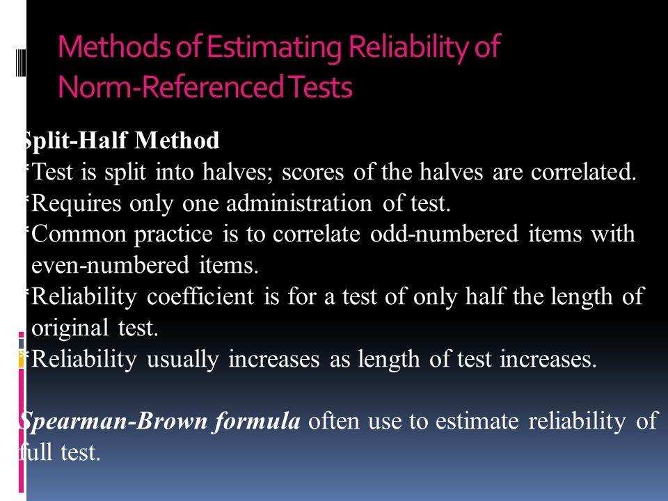 Methods of Estimating Reliability of Norm-Referenced Tests