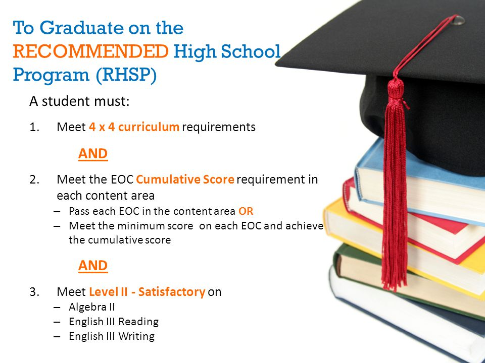 To Graduate on the RECOMMENDED High School Program (RHSP)