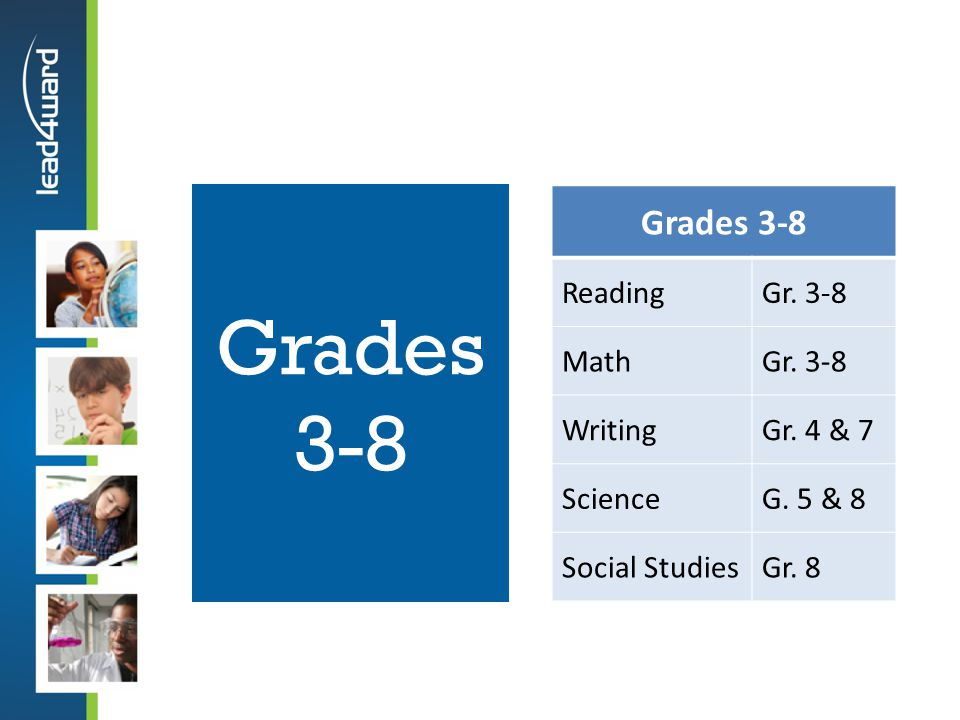 Grades 3-8 Grades 3-8 Reading Gr. 3-8 Math Writing Gr. 4 & 7 Science