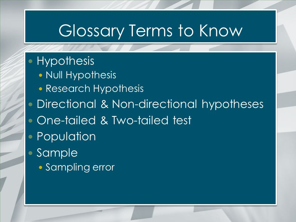 Glossary Terms to Know Hypothesis