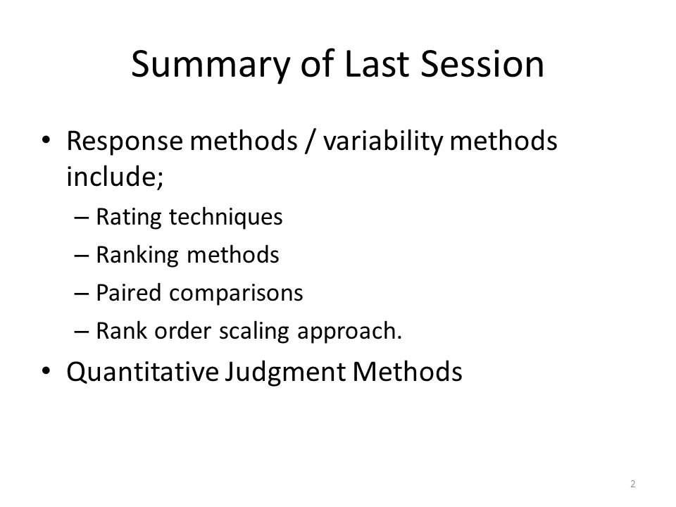 Summary of Last Session