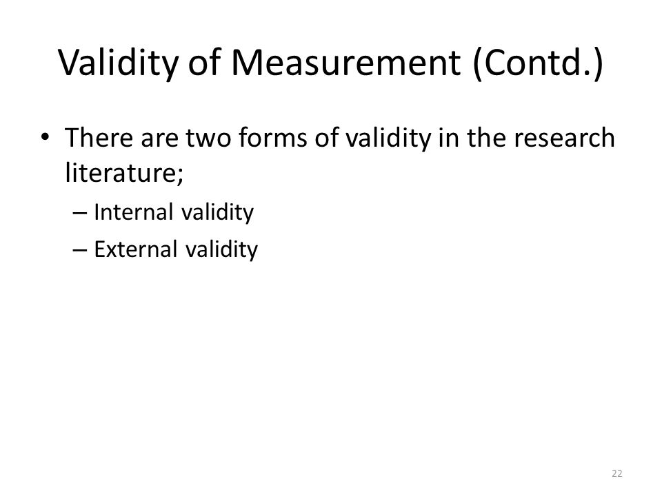 Validity of Measurement (Contd.)