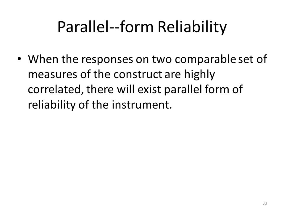Parallel--form Reliability