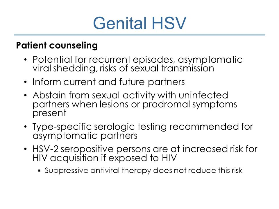 Genital HSV Patient counseling